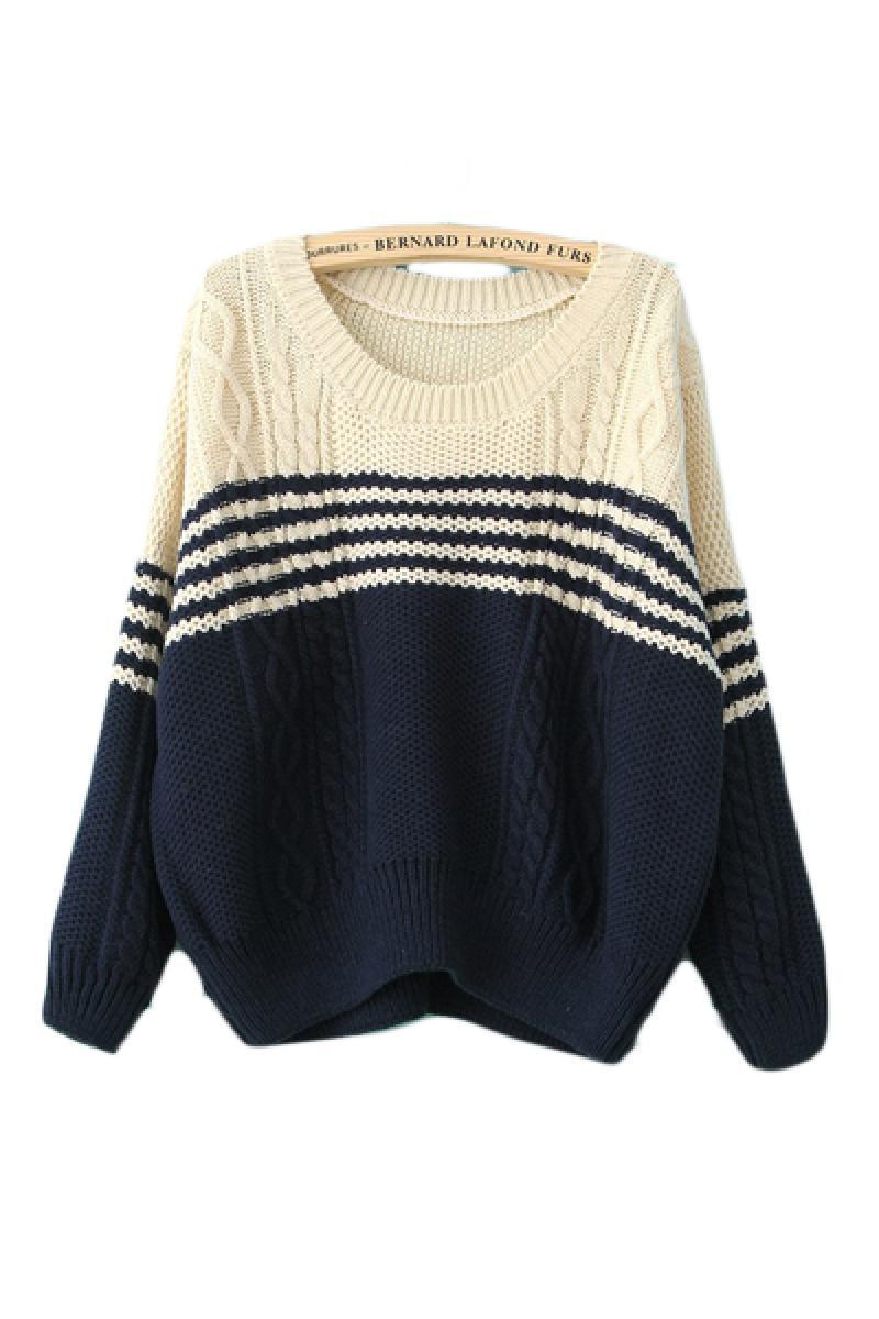 New Wide Stripes Hemp Flowers Long Sleeve Sweater,Cheap in Wendybox.com