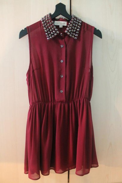 dress red red dress studs spiked collar