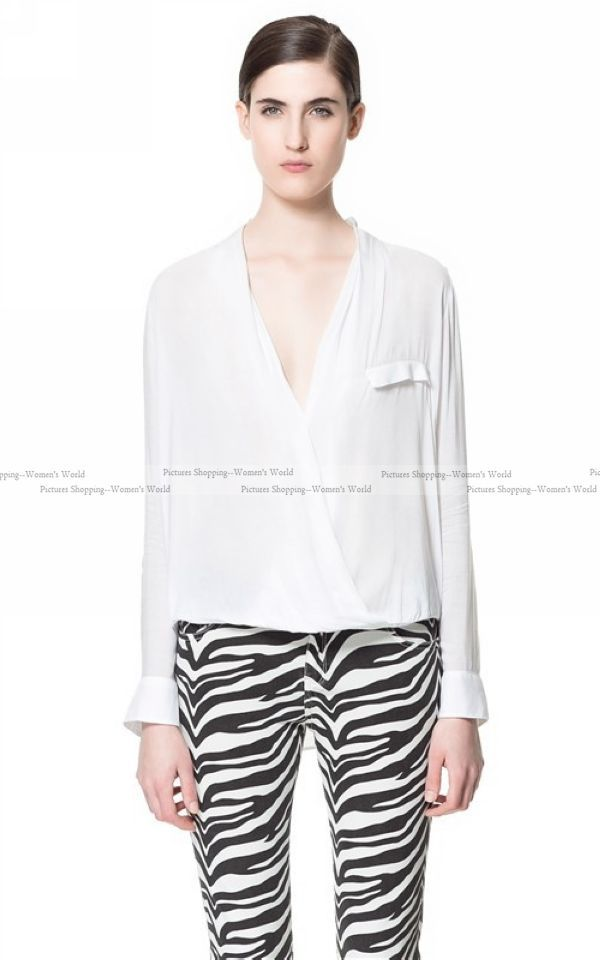 2013 new Fashion Womens Long Sleeve Shirts Deep V Neck Solid Elegant Loose Ladies Blouses PS0168-in Blouses & Shirts from Apparel & Accessories on Aliexpress.com