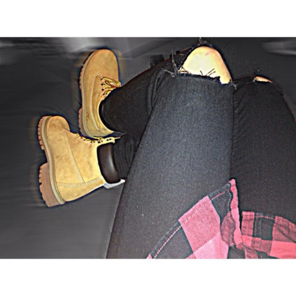 jeans black jeans timberlands boots red shoes