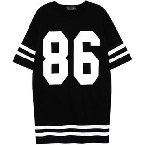 TOP SHOP #86 Printed Black White Jersey T-Shirt - Polyvore