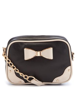 Black and Cream Bow Across Body Bag