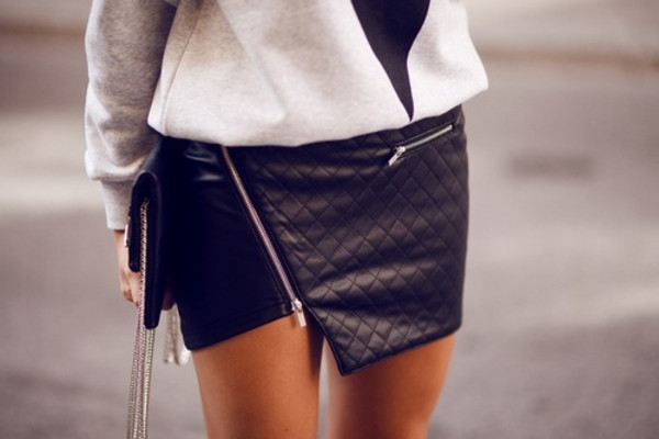 skirt black skirt fashion fall trend fall outfits classy asymmetrical skirt leather zip