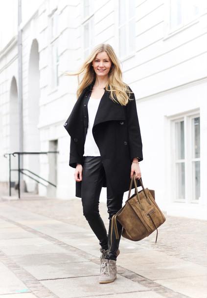 passions for fashion blogger coat t-shirt pants bag shoes