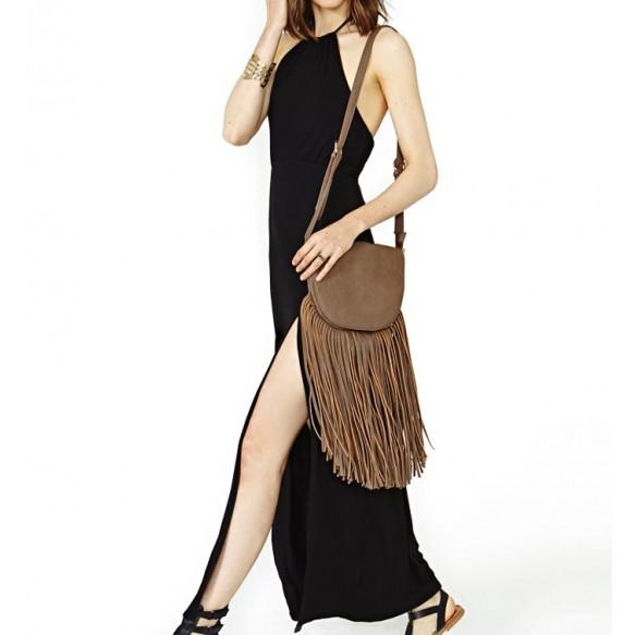 Double Thigh Split Halter Maxi Dress at Style Moi