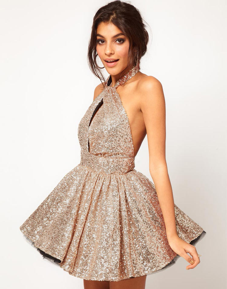 Gold Sequin Dress - Halter backless sequined lace waist | UsTrendy