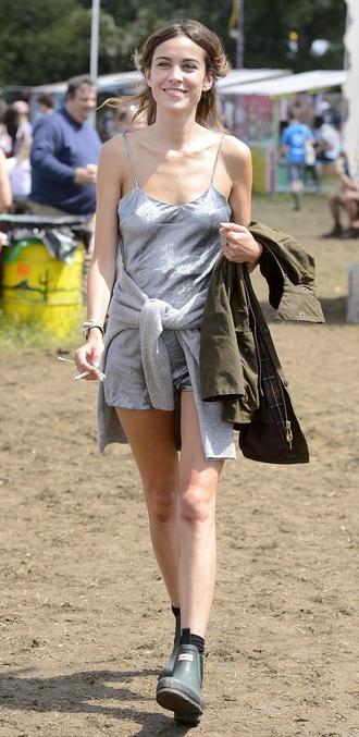 romper alexa chung jacket festival glastonbury vintage hipster indie grey dress slip dress silk dress parka boots glastonbury 2014 fashion