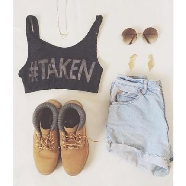 tank top shorts shoes sunglasses jewels blouse