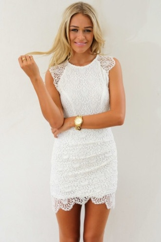 dress lace white cap-sleeve dress