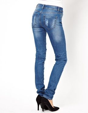 ASOS | ASOS Elgin Supersoft Skinny Jeans in Distressed and Ripped Vintage Wash at ASOS