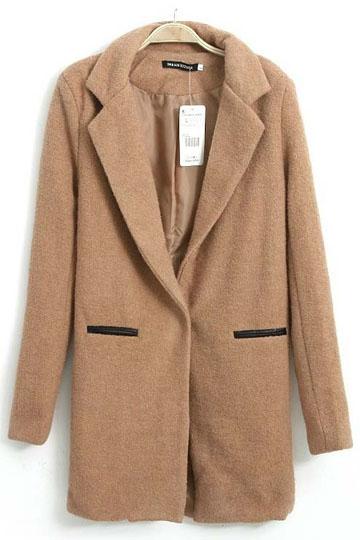 Pure Color Long Pattern Slim Fit Woolen Coat [FEBK0270]- US$65.99 - PersunMall.com