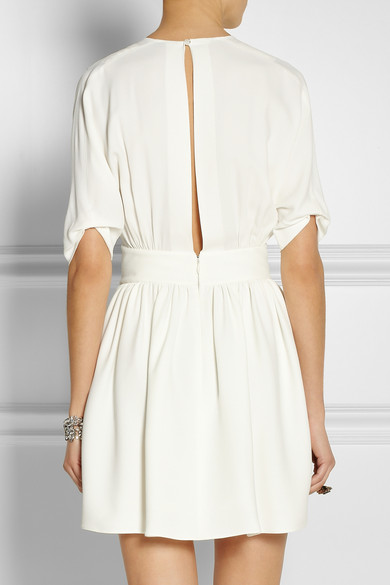 Miu Miu | Split-back pleated crepe dress | NET-A-PORTER.COM