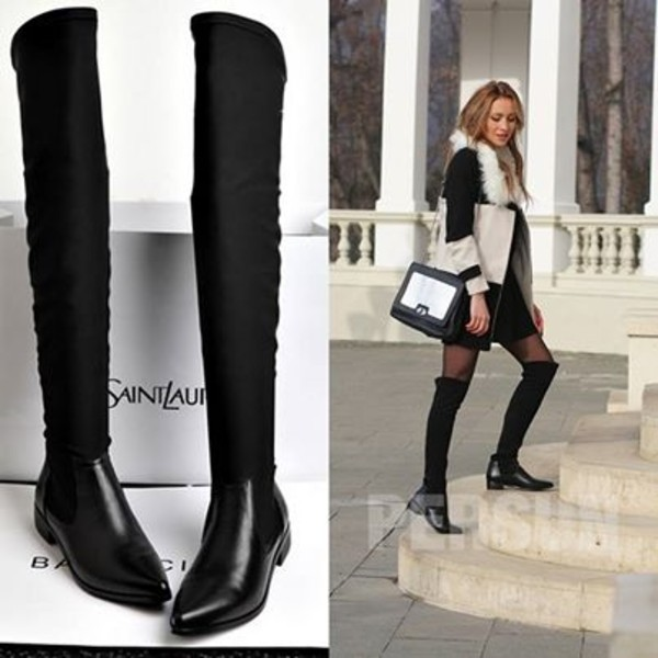 shoes boots fashion boots fashion pretty back to school student high boots tight boots black boots black