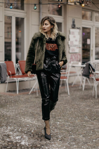 lefashion blogger t-shirt coat bag pants shoes fur coat black pants winter outfits