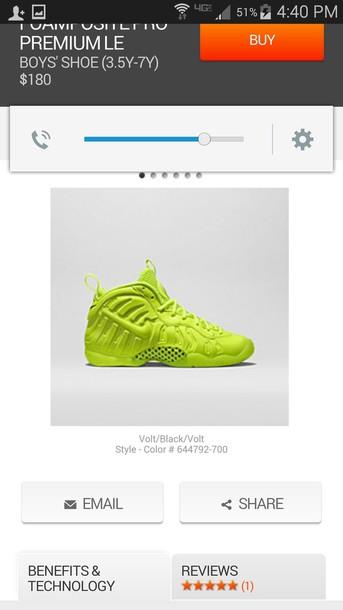 shoes lime nike foamposite