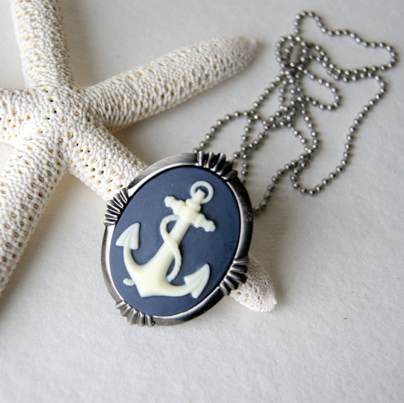 Cyber Monday Sale Anchor Necklace  ivory anchor  navy by BlackStar