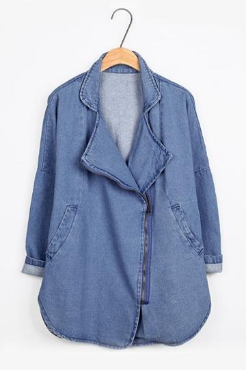 Loose Pure Color Denim Coat with Asymmetrical Zipper [FEBK0303]- US$ 47.99 - PersunMall.com