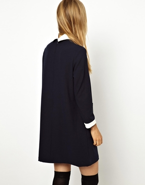 Little White Lies | Little White Lies Shift Dress with Contrast Collar and Cuffs at ASOS