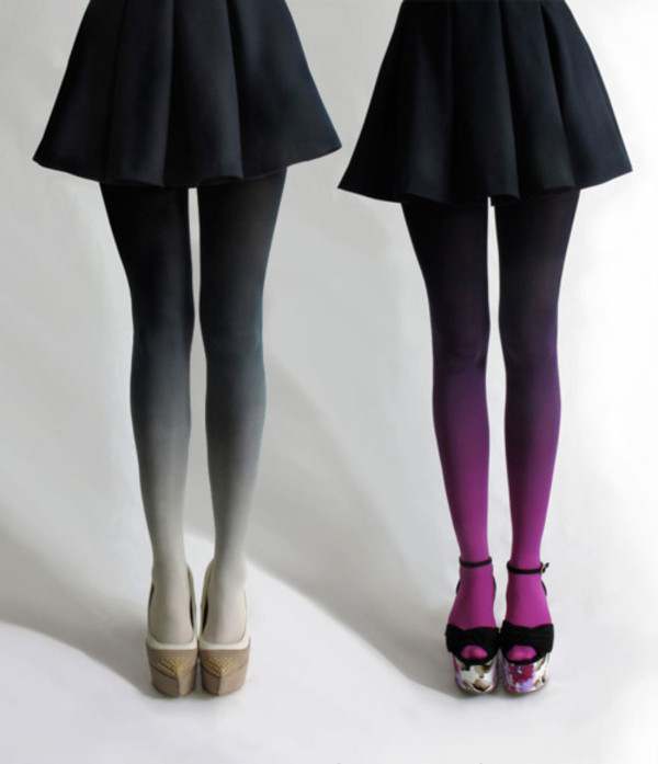 tights tight fade shaded skirt underwear pants leggings ombre purple cream black skirt ombre tights fading grey white ombre bleach dye pantyhose gradation colorful