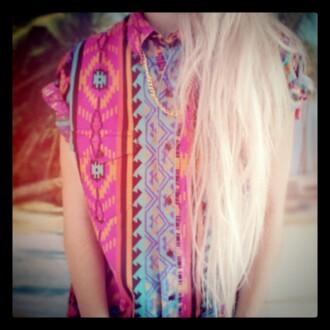 shirt colorful patterns vintage hippie blonde hair pattern tribal pattern colorful