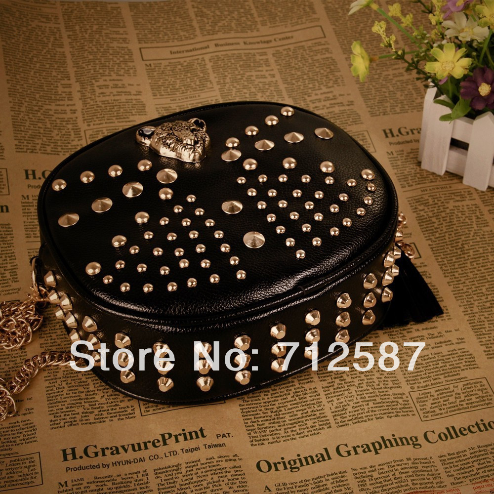Free Shipping leopard head rivets shoulder bags European and American style women leather handbags women messenger bags#B021-in Shoulder Bags from Luggage & Bags on Aliexpress.com