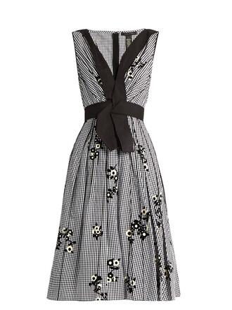 dress floral gingham white black