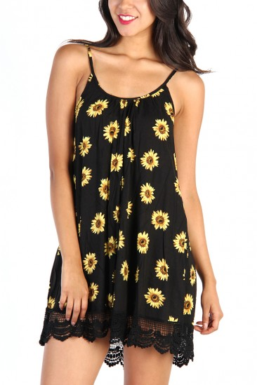 LoveMelrose.com From Harry & Molly | Floral Dress - Black