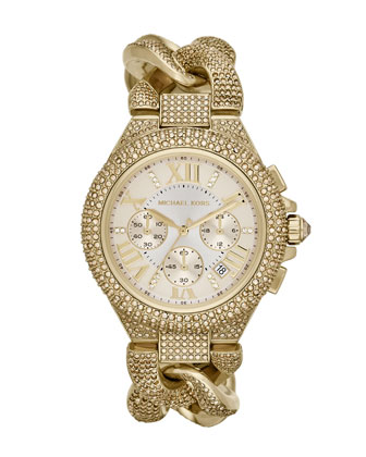 Michael Kors Mid-Size Golden Stainless Steel Twisted Camille Three-Hand Glitz Watch - Michael Kors