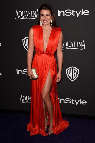 golden globes 2015 after party lea michele sandals red dress