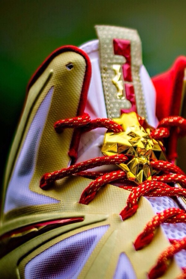 shoes lebrons king james red gold