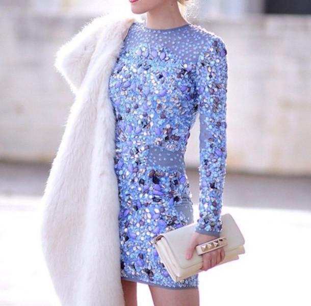 dress jewels blue dress sparkle