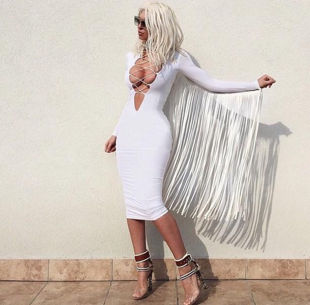 Dress: white dress, tassel, plunge v neck, lace up, blonde ...