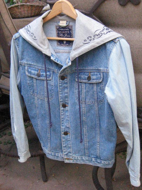 Vintage Light Color Denim Jacket   Hoodie  Size by PrettyOnYou