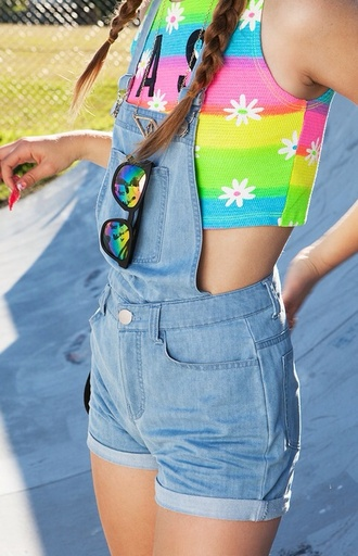 tank top crop tops daisy colorful patterns shorts