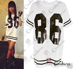 Womens Celeb Oversized 86 American Baseball Tee T Shirt Top Varsity Loose Dress | eBay