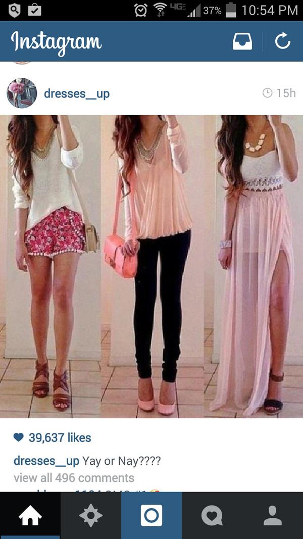 shirt cute skirt pink white heels skinnies crop necklace shorts