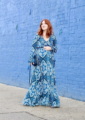tf diaries blogger dress shoes bag maxi dress blue dress