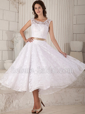 A-Line Ball Gown Princess Jewel Natural Waist Non-Strapless Tank Illusion Satin Tulle Lace Wedding Dress - WD6175 - US$ 189.99