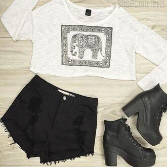 top denim shorts denim shorts black black shorts black denim shorts black denim elephant elephant shirt sweater cropped sweater elephant sweater
