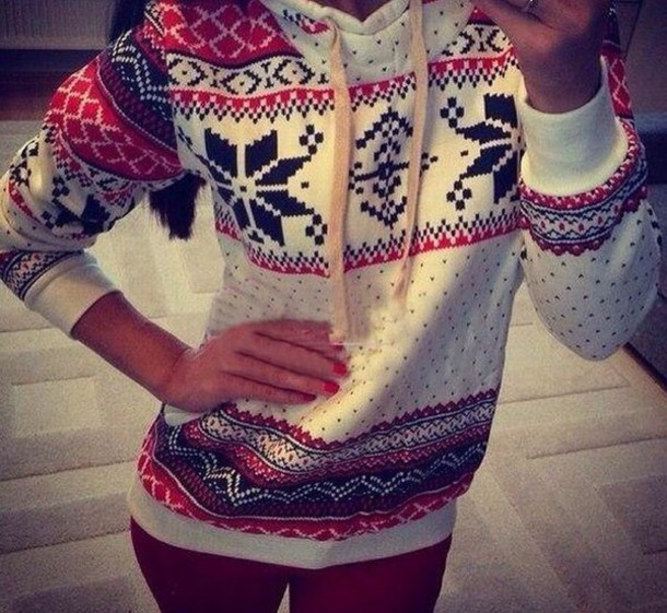 sweater snowflake sweater sweater weather red and black sweater hoodie