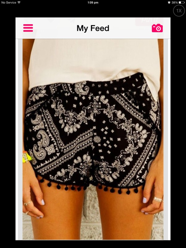 bandana black and white pom pom shorts shorts
