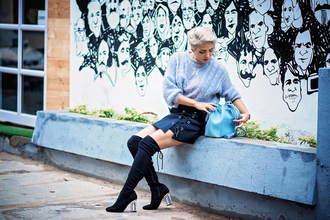 bighairloudmouth blogger skirt jewels sweater shoes thigh high boots blue sweater mini skirt blue bag bucket bag