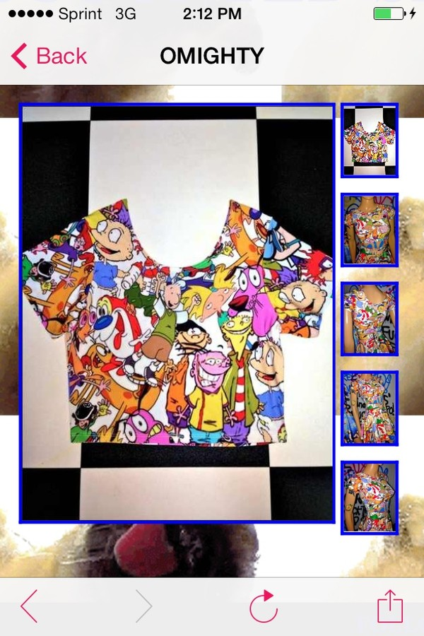 t-shirt crop tops 90s style colorful
