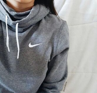 sweater nike jumper grey jacket white hoodie crewneck cute fall outfits shirt coat