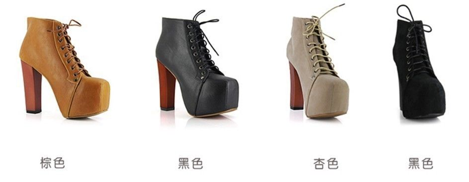 Hot Women Vintage Lace Up Thick Heels Super High Round Toe Ankle Boots Shoes   eBay