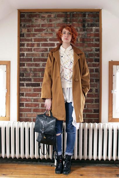 de lune blogger sweater camel coat vintage jeans blouse coat shoes