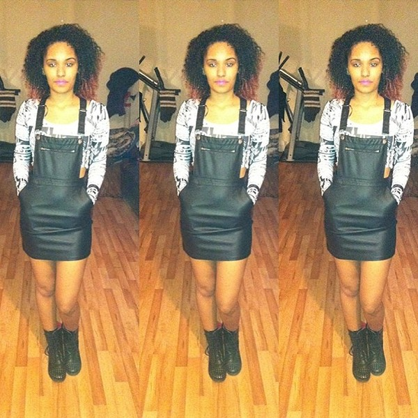 dress vinatge leather overalls black and white exotic beautiful