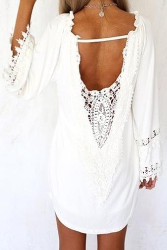 dress backless dress lace dress summer dress summer zaful cloth shopping girl girly women style beach cute dress little dress white dress