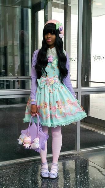 dress lolita kawaii fairy kei little twin stars purple pastel lilac gyaru