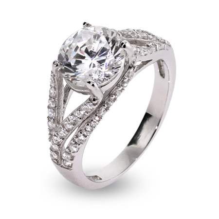 Sterling Silver Jewelry - Elegant Deco Style Brilliant Cut CZ Sterling Silver Ring
